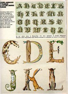 """N° 27 - janvier 1976 - Article """"en toutes lettres..."""" - réalisation Paméla Dieu -  abécédaires anciens - collection particulière"""