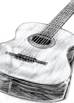 Pencil drawing guitar by Robyn Fear
