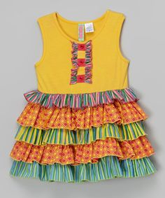 Look what I found on #zulily! Yellow & Fuchsia Tiered Dress - Infant & Toddler by Sophie & Sam #zulilyfinds