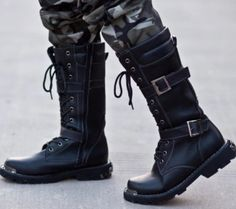Mens PU leather Winter outdoor knee high combat military lace up buckle Boots #Unbranded #Military