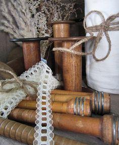 Vintage Industrial Wooden Bobbins and Spools by preciousplaytime, $32.00