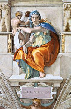 Michelangelo Buonarotti, Delphic Sybil #renaissance #frescoe
