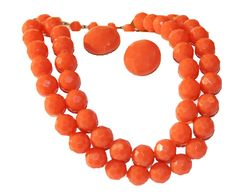 50s Coral Faceted Beaded Necklace and Earrings Set by MadgesHatBox, $29.00