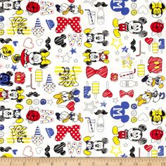 Disney Mickey Mouse & Friends Summer Fun White from @fabricdotcom  Licensed by Disney to Camelot Fabrics, this cotton print is perfect for quilting, apparel and home décor accents. This is a licensed fabric and not for commercial use. Colors include red, blue, yellow, black and white.