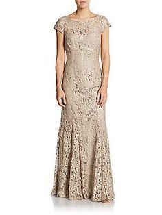 ML Monique Lhuillier -  Foil Lace Cap Sleeve Gown - Saks Off 5th - $219.99