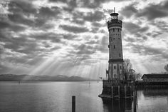 Lindau Lighthouse - Lighthouse at Lindau harbor Burj Khalifa, Empire State Building, Lighthouse, Lindau Germany, Explore, Black And White, Architecture, Places, Nature