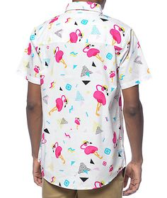 Grab a fun new look perfect for your next summer outing or festival with the new Flamingo Print button up shirt from Empyre. Show off some party style with the all over flamingo and multicolor retro shapes graphic print on a lightweight white cotton const White Button Up, Flamingo Print, Party Fashion, Classic Looks, Graphic Prints, New Look, Button Up Shirts, Men Casual, Retro