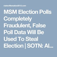 MSM Election Polls Completely Fraudulent, False Poll Data Will Be Used To Steal Election | SOTN: Alternative News & Commentary