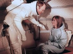 "Clementine Taplin (Catherine Schell) suits up for a moonwalk in the 1969 movie ""Moon Zero Two"""