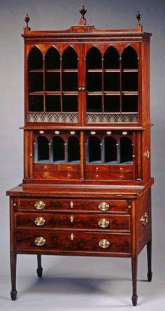 ... , astutely decorated mahogany desk and bookcase, circa 1798–1808