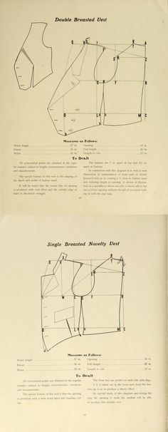 Single and double breasted Edwardian men's vest patterns