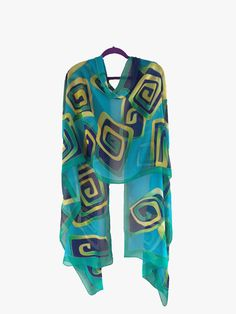 Hand Painted Scarf Geometrical Design
