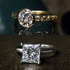 A mix of traditional and unique beauties this week for New Engagement Ring Thursday, starting with these two solitaires: top: Our Heirloom Collection bezel set 0.72ct Circular Brilliant cut diamond with scrolling band in 18k. bottom: Classic and glittery vintage 1.72ct Square Brilliant cut diamond in platinum. Not online, DM or email info@doyledoyle.com for all the details. #doyleanddoyle #doyledoylerings #diamondsolitaire #uniqueengagementrings #ddheirloom