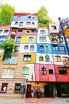 Houses painted by the artist Frederich Hundertwasser