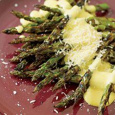 Grilled Asparagus with Pepper Zabaglione // More Mario Batali Recipes: http://www.foodandwine.com/slideshows/mario-batali #foodandwine