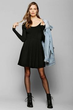 Sparkle & Fade Long-Sleeve Knit Skater Dress #urbanoutfitters