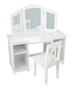 Little ones love primping and prepping for the day with this vanity set. Featuring sturdy construction and classic detailing, it's sure to make them feel special. The main mirror with adjustable side mirrors ensures that this will be a beloved hand-me-down. Five built-in drawers provide the perfect storage solution for books, makeup, knickknacks and mementos.