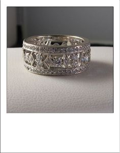 Vintage 18k 1.4 Carat Diamond Wide Highly Detailed Eternity Band on Etsy, $1,075.00