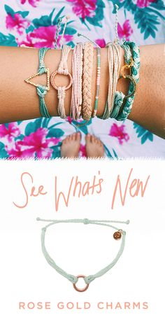 Rose Gold charms have arrived at Pura Vida! Style your wrist this season with beautiful hand-made bracelets from Costa Rica! Every bracelet purchased helps to provide full-time jobs to local artisans. Use code 'PV20' for 20% off all orders plus free shipping within the U.S. Join the Pura Vida movement!