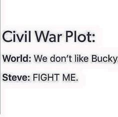Civil War plot-- World: We don't like Bucky    Steve: Fight me --- the best summary I've ever seen.