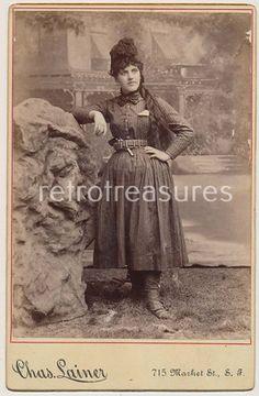 1880s Cowgirl Woman w Gun Wild West Performer Cabinet Card Photo San Francisco   eBay