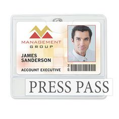 """Available Same Day! These credential/event size clear vinyl badge holders feature the patented Brady Clothing-Friendly(TM) clip. They stay securely fastened all day without crimping or damaging clothing. Top pocket is perfect for displaying a ticket or other large credential. Use second pocket for an insert or add a custom imprint. Horizontal top load format. Sold blank but can be customized (imprinted items ship 10 days from proof approval). Thickness: .012"""" front; .030"""" back. Ins..."""