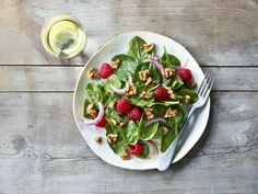 Walnut Raspberry Salad and Raspberry Vinaigrette