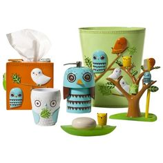 The Give a Hoot Bath Coordinates Collection from Target features many items that could be used in a bedroom as well.