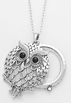 Owl Magnifying Glass Pendant Necklace