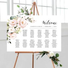 Wedding Seating Chart Personalized Seating Plan By Table Cream Roses, Blush Roses, Pink Roses, Pink Flowers, Seating Chart Wedding, Seating Charts, Wedding Welcome Signs, Wedding Signs, Flower Bar