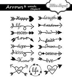 17 digital arrows with words. Various arrows, love, life Arrows words clipart. 17 digital arrows with words. Krebs Tattoo, Poster Design Software, Arrow Words, Arrow Clipart, Cursive Alphabet, Arrow Tattoos, Word Art, Small Tattoos, Mom Tattoos