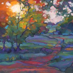 KMSchmidt ORIGINAL Painting 12x12 Fauve Impressionist landscape art TREES PATH  #Fauvism