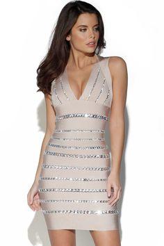 Celeb Style Diamante Embellished Bandage Dress