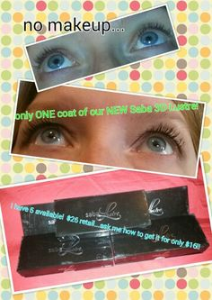 I am looooooving our NEW Saba Lustre 3D fiber mascara!! Only $26 retail... But you can get it for only $16!!! Ask me how!!! www.joniloehr.sababuilder.com
