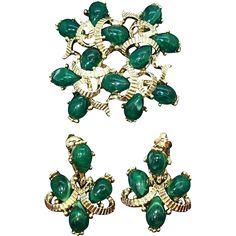 Vintage Marvella Goldtone Metal Green Brooch and Dangle Earring Set. found at www.rubylane.com #vintagebeginshere