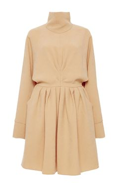 Tan High Neck Ruched Dress by J.W. ANDERSON Now Available on Moda Operandi