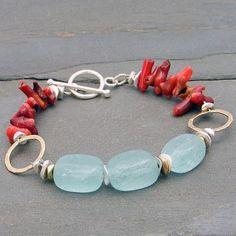 Quartz and Fire Coral Bracelet