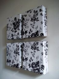 Dollar Tree contact paper and granola bar boxes for wall decor!
