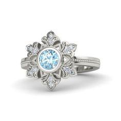 Round Aquamarine 14K White Gold Ring with Diamond