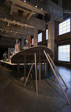 Homecoming, November 2013 (Smack Mellon, Brooklyn, NY). Mixed-media installation. 35 x 2.5 x 12 feet.