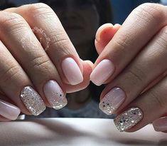 Nageldesign - Nail Art - Nagellack - Nail Polish - Nailart - Nails Nägel How to Make Hair Bows Artic Fun Nails, Pretty Nails, Pale Pink Nails, Pink Sparkle Nails, Pink Manicure, Pink Sparkles, White Nails, Glitter Accent Nails, Chunky Glitter Nails