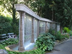 Water wall feature at Minter Gardens in Vancouver, Canada. Water wall feature at Minter Gardens in Vancouver, Canada. Water Wall Fountain, Water Fountain Design, Small Water Features, Water Features In The Garden, Indoor Water Features, Water Curtain, Diy Garden Fountains, Garden Waterfall, Water Walls