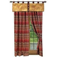 Leather valance on top of patterned drapes. Perhaps break up my plaid drapes with a solid header or footer?