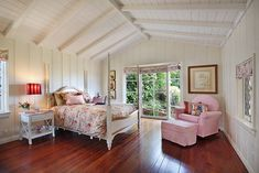 Pinky red accent on all white.  Beautiful-Bedrooms on tumblr, Pink, flower print, girly room