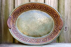 Hand Built Serving Platter  Aztec Design  by KittingerClay on Etsy