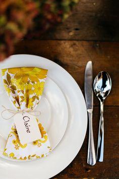 floral napkin - photo by Lara Hotz https://ruffledblog.com/whimsical-bohemian-wedding-in-australia