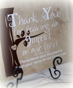 Cute idea (and cheap too!) For the brides doing the thumbprint guest book. Wedding+Guest+Tree+Sign+Vinyl+by+CreateitGo+on+Etsy,+$14.00