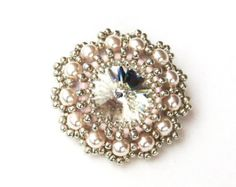 Brooch Beaded Swarovski Crystal Pearl Beaded Brooch Rose Pink Silver Handbeaded Brooch Dress Pin
