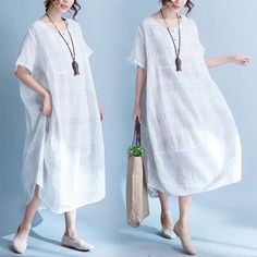 Grid white loose bat sleeve pullover long dress cause clothes 6.23 new arrivals free shipping