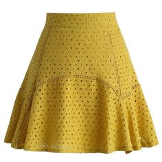 Chicwish Sparkling Eyelet Frill Hem Skirt in Mustard ($45) ❤ liked on Polyvore featuring skirts, yellow, mustard yellow skirt, brown skirt, flounce hem skirt, sparkle skirts and mustard skirt